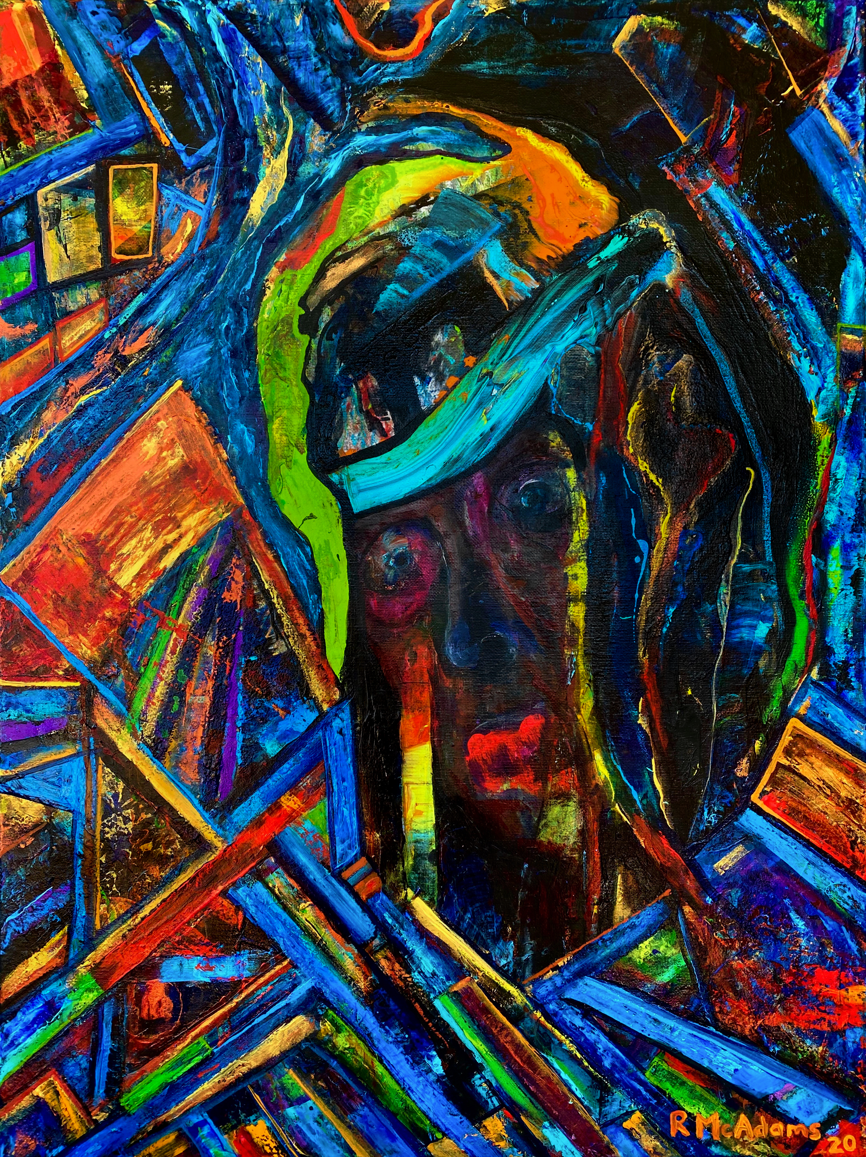 abstract painting of face